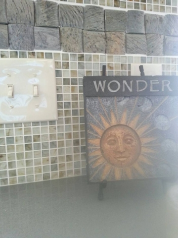 "Wonder plaque with 1/2"" mosaic tile and slate"