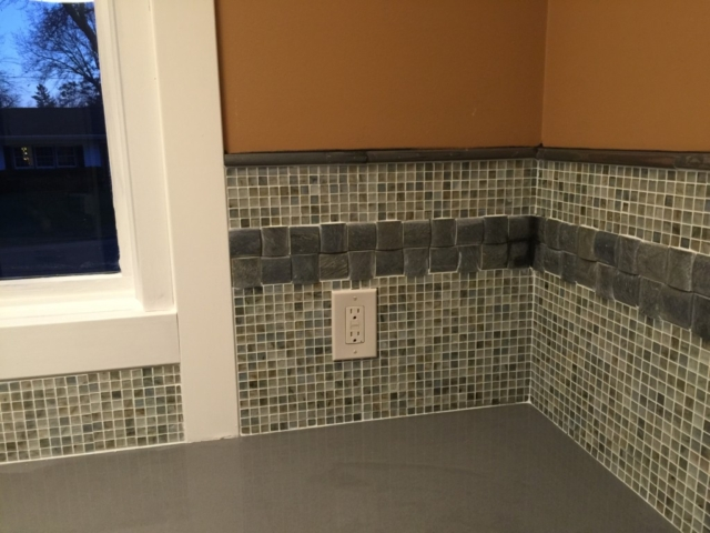 "Porcelonosa Tile 1/2"" Mosaic Tile with 2"" slate"
