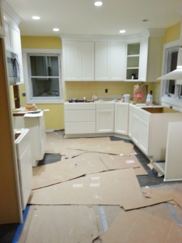 Kitchen during cabinet install