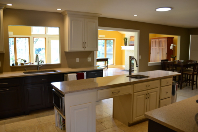 Center island in large kitchen